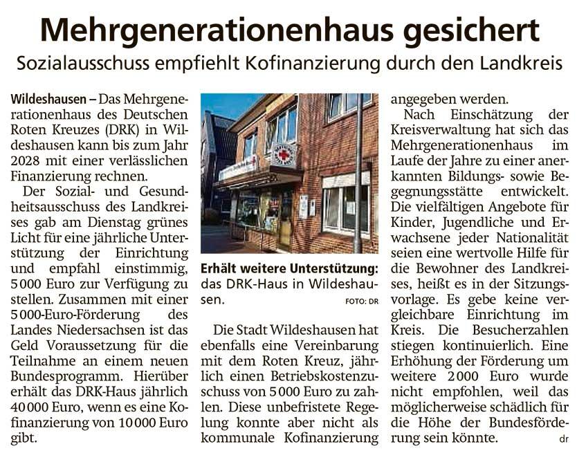 Mehrgenerationenhaus gesichertSozialausschuss empfiehlt Kofinanzierung durch den LandkreisArtikel vom 19.11.2020 (WZ)