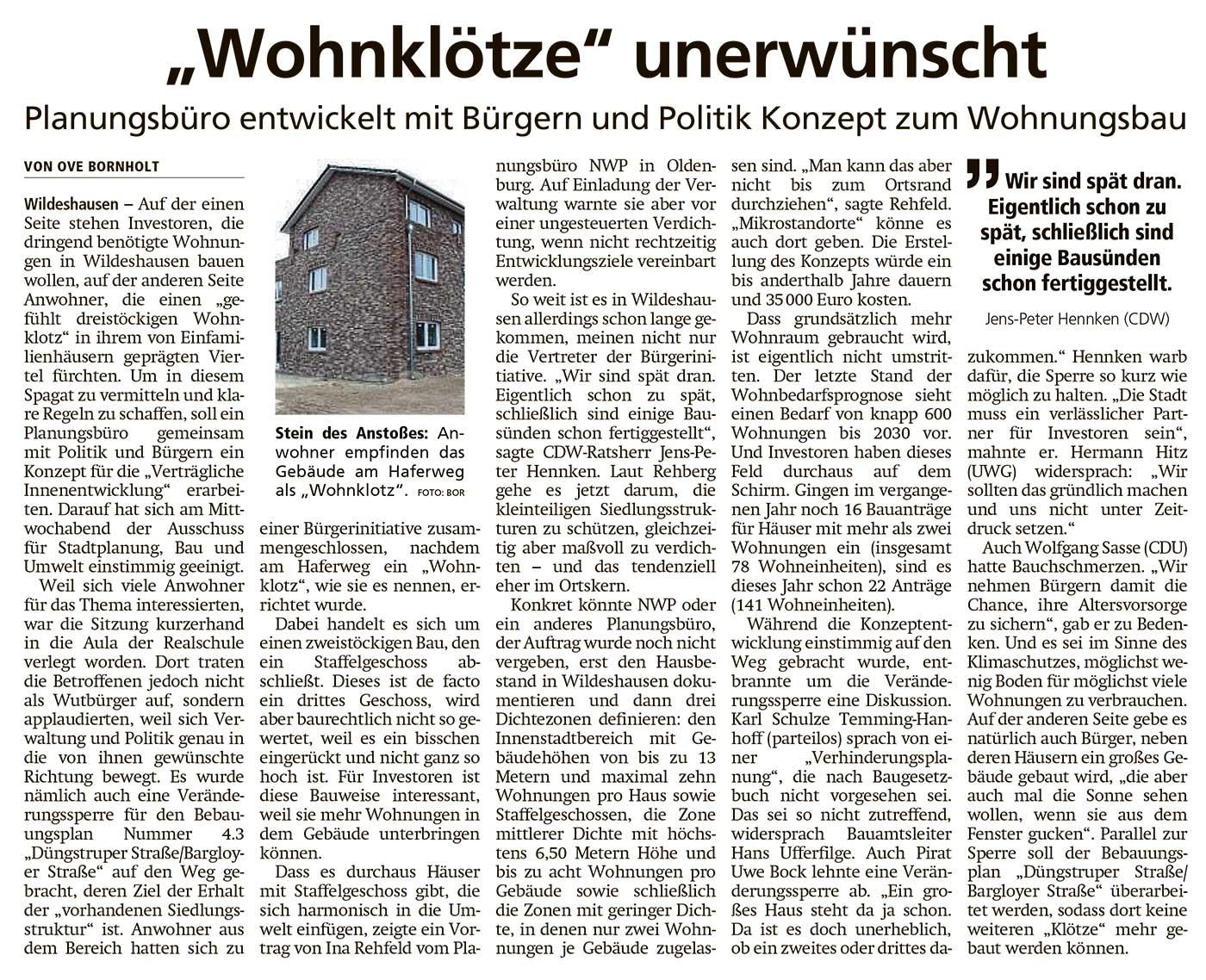 'Wohnklötze' unerwünschtPlanungsbüro entwickelt mit Bürgern und Politik Konzept zum WohnungsbauArtikel vom 20.11.2020 (WZ)