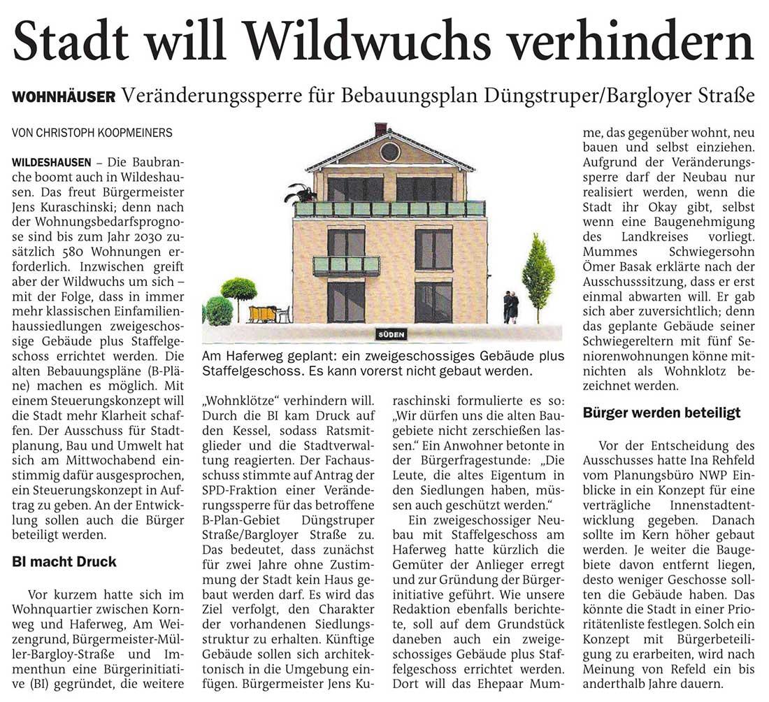 Stadt will Wildwuchs verhindernWohnhäuser: Veränderungssperre für Bebauungsplan Düngstruper/Bargloyer StraßeArtikel vom 20.11.2020 (NWZ)