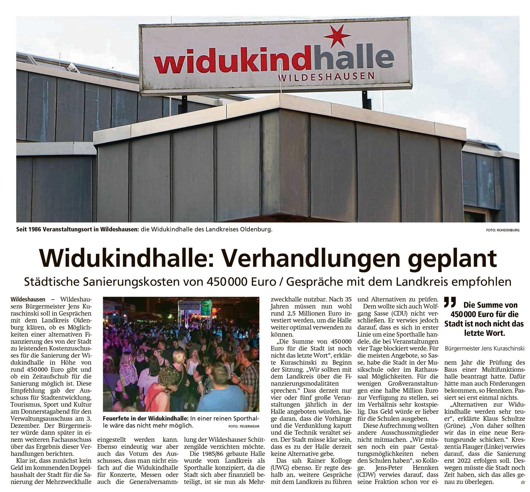 Widukindhalle: Verhandlungen geplantStädtische Sanierungskosten von 450 000 Euro / Gespräche mit dem Landkreis empfohlenArtikel vom 20.11.2020 (WZ)