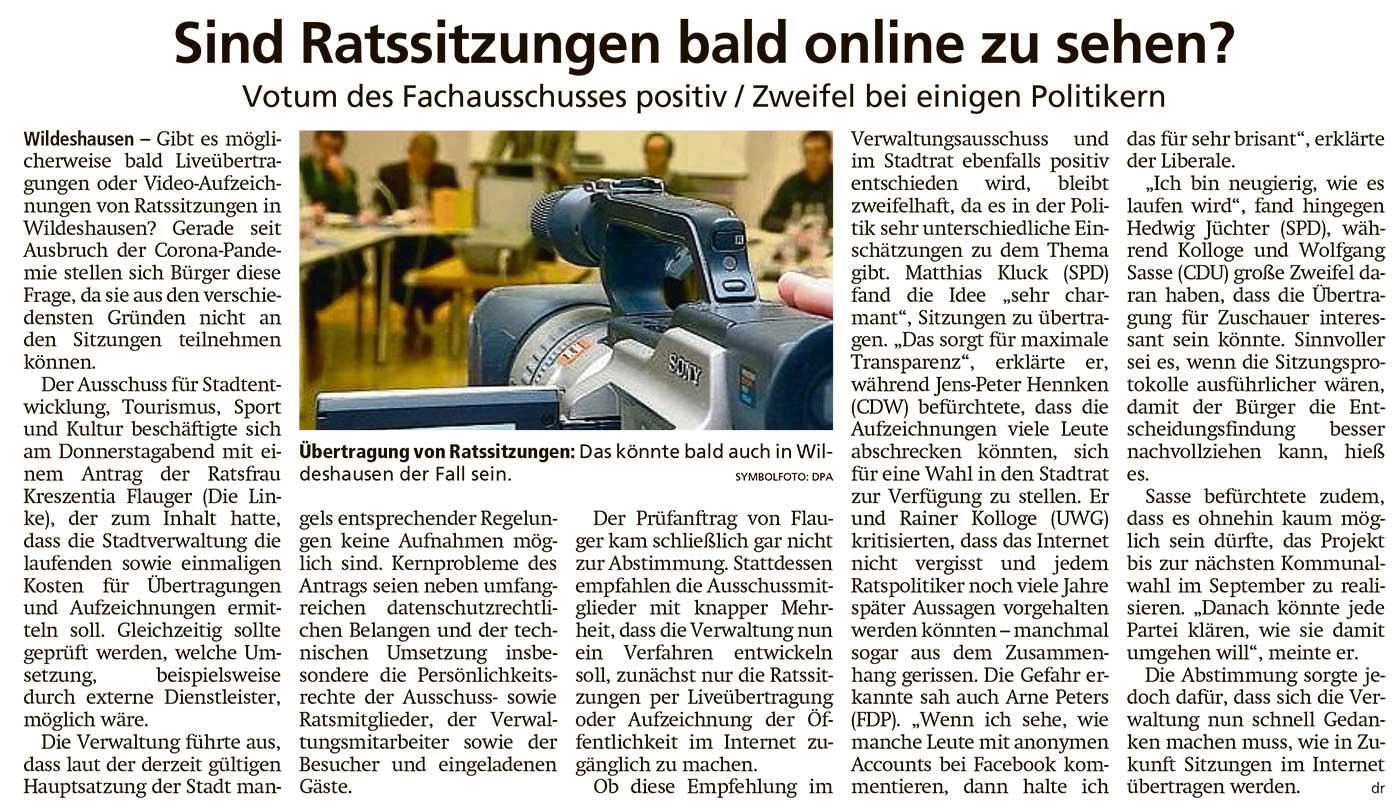 Sind Ratssitzungen bald online zu sehen?Votum des Fachausschusses positiv / Zweifel bei einigen PolitikernArtikel vom 21.11.2020 (WZ)