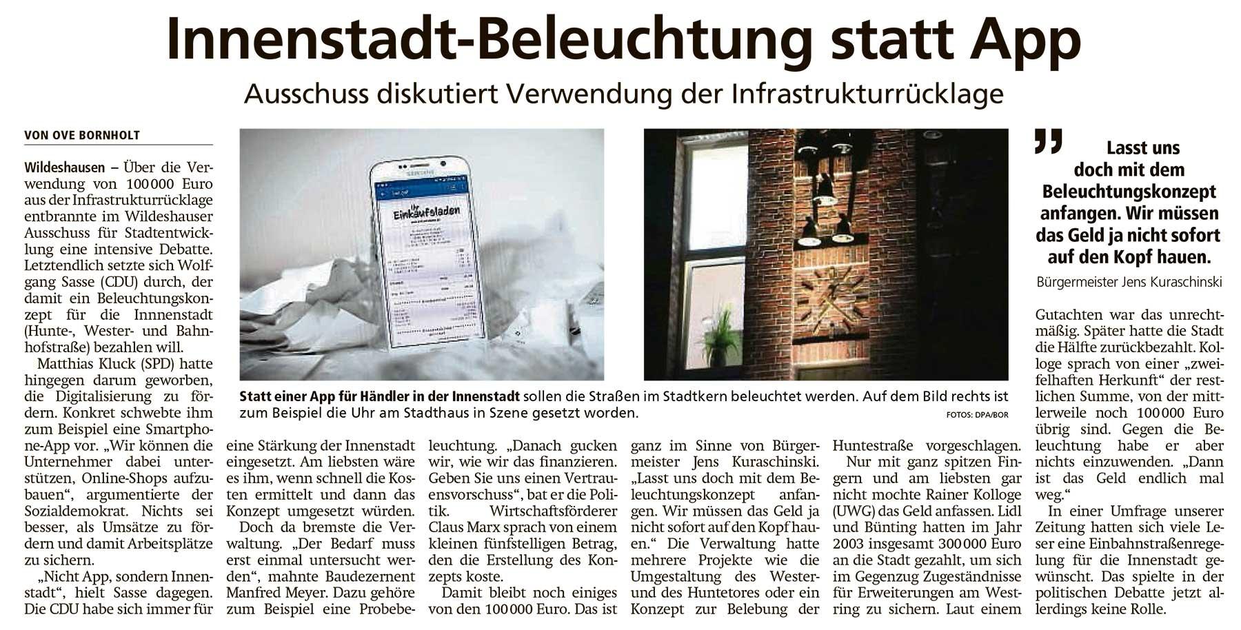 Innenstadt-Beleuchtung statt AppAusschuss diskutiert Verwendung der InfrastrukturrücklageArtikel vom 23.11.2020 (WZ)