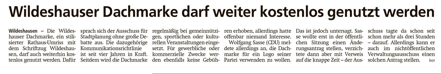 Wildeshauser Dachmarke darf weiter kostenlos genutzt werdenDie Wildeshauser Dachmarke, ein stilisierter Rathaus-Umriss...Artikel vom 23.11.2020 (WZ)