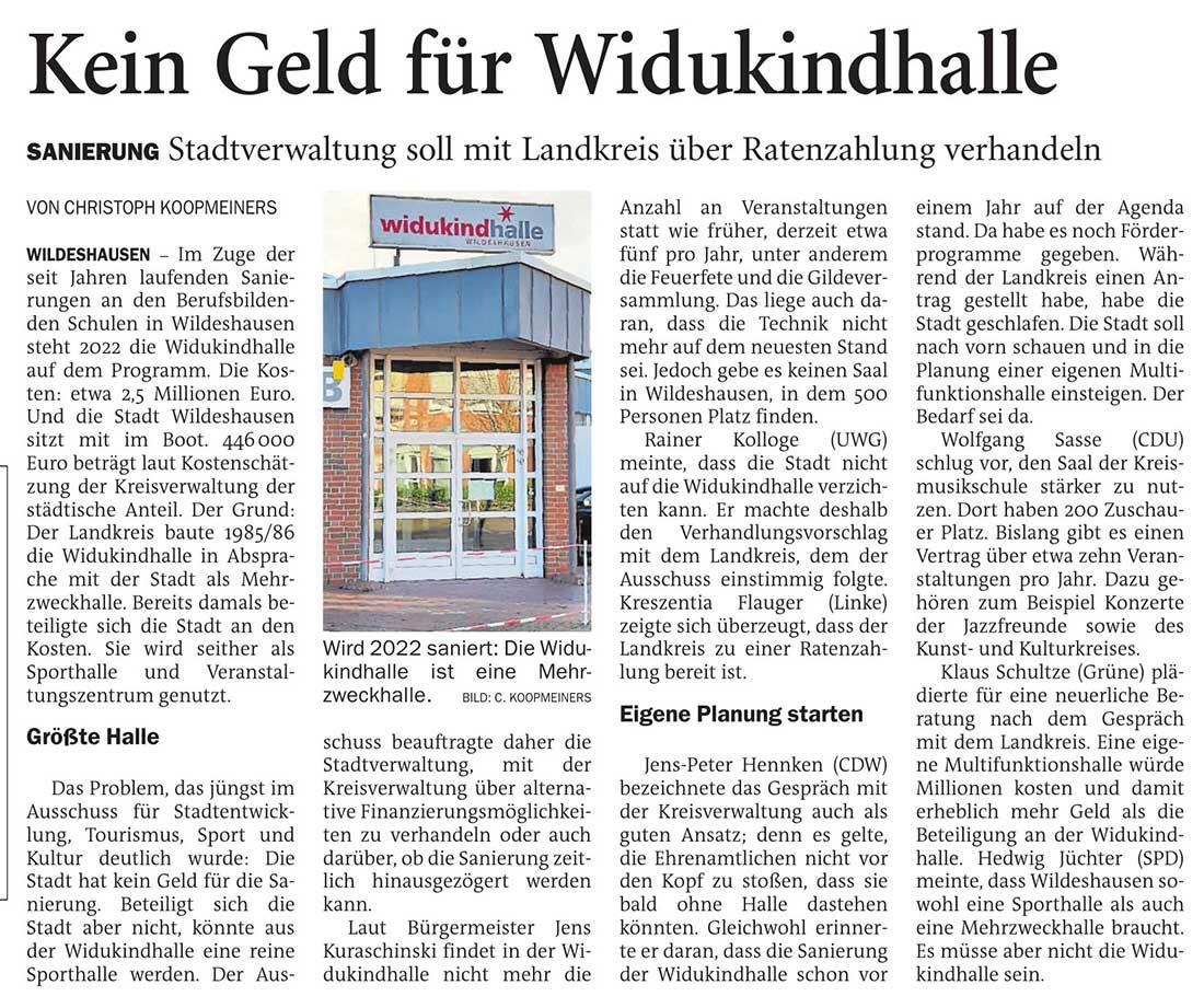 Kein Geld für WidukindhalleSanierung: Stadtverwaltung soll mit Landkreis über Ratenzahlung verhandelnArtikel vom 25.11.2020 (NWZ)