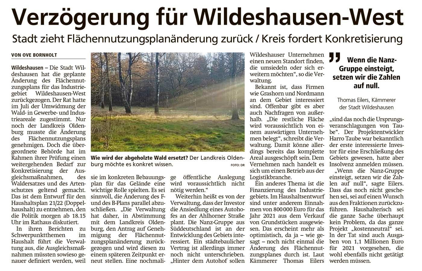 Verzögerung für Wildeshausen-WestStadt zieht Flächennutzungsplanänderung zurück / Kreis fordert KonkretisierungArtikel vom 25.11.2020 (WZ)