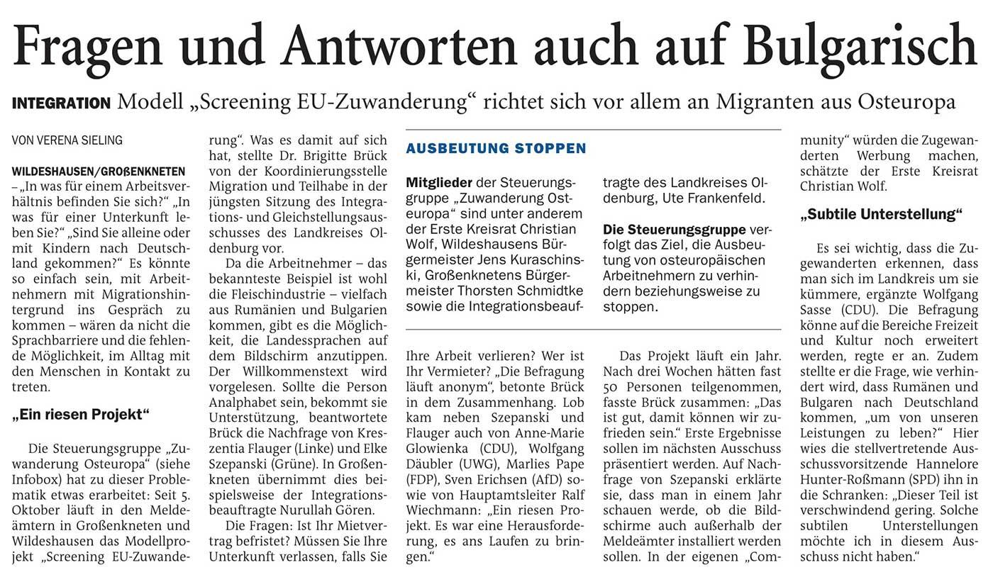 Fragen und Antworten auch auf BulgarischIntegration: Modell 'Screening EU-Zuwanderung' richtet sich vor allem an Migranten aus OsteuropaArtikel vom 25.11.2020 (NWZ)