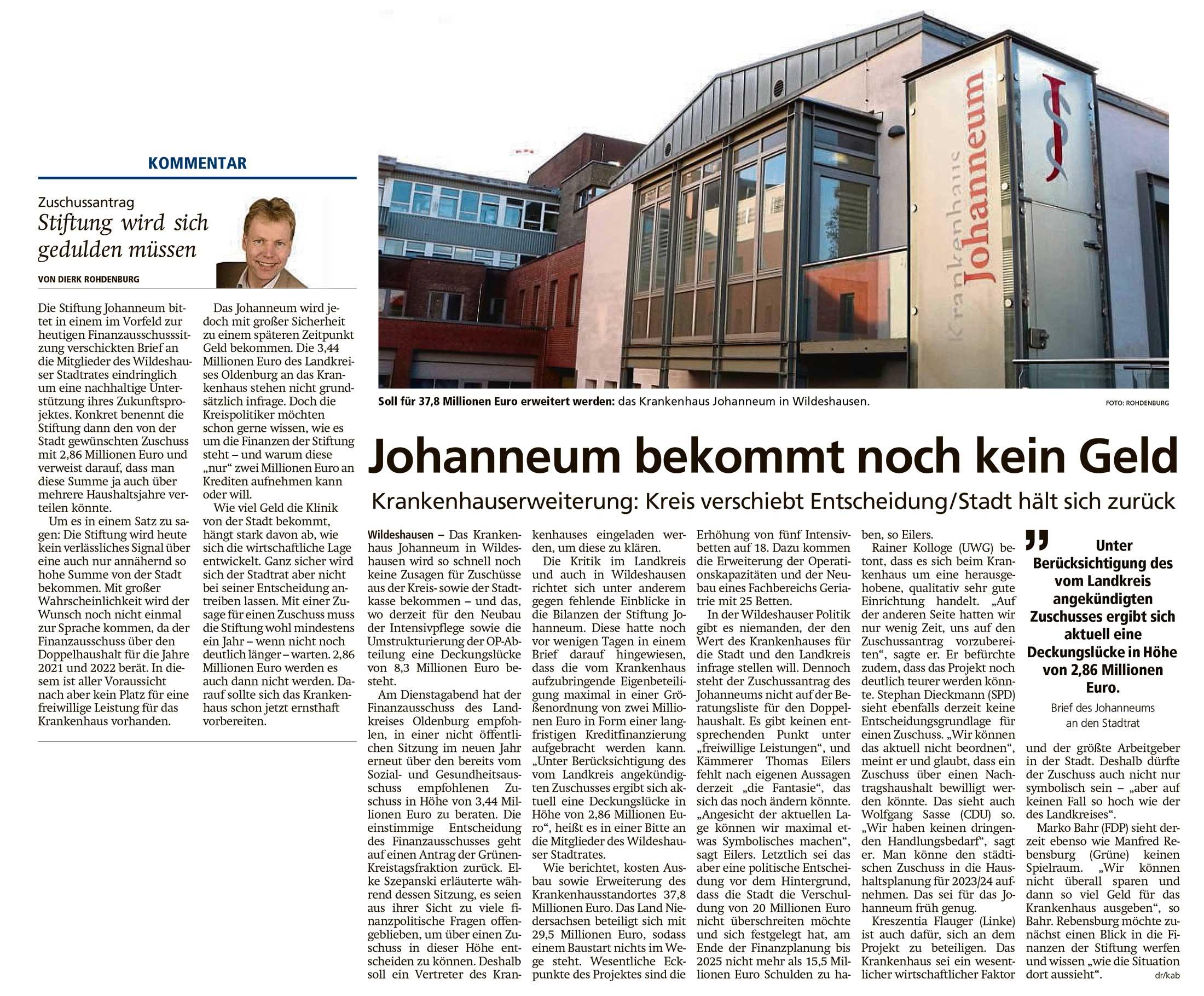 Johanneum bekommt noch kein GeldKrankenhauserweiterung: Kreis verschiebt Entscheidung / Stadt hält sich zurück // Kommentar: 'Stiftung wird sich gedulden müssen'Artikel vom 26.11.2020 (WZ)