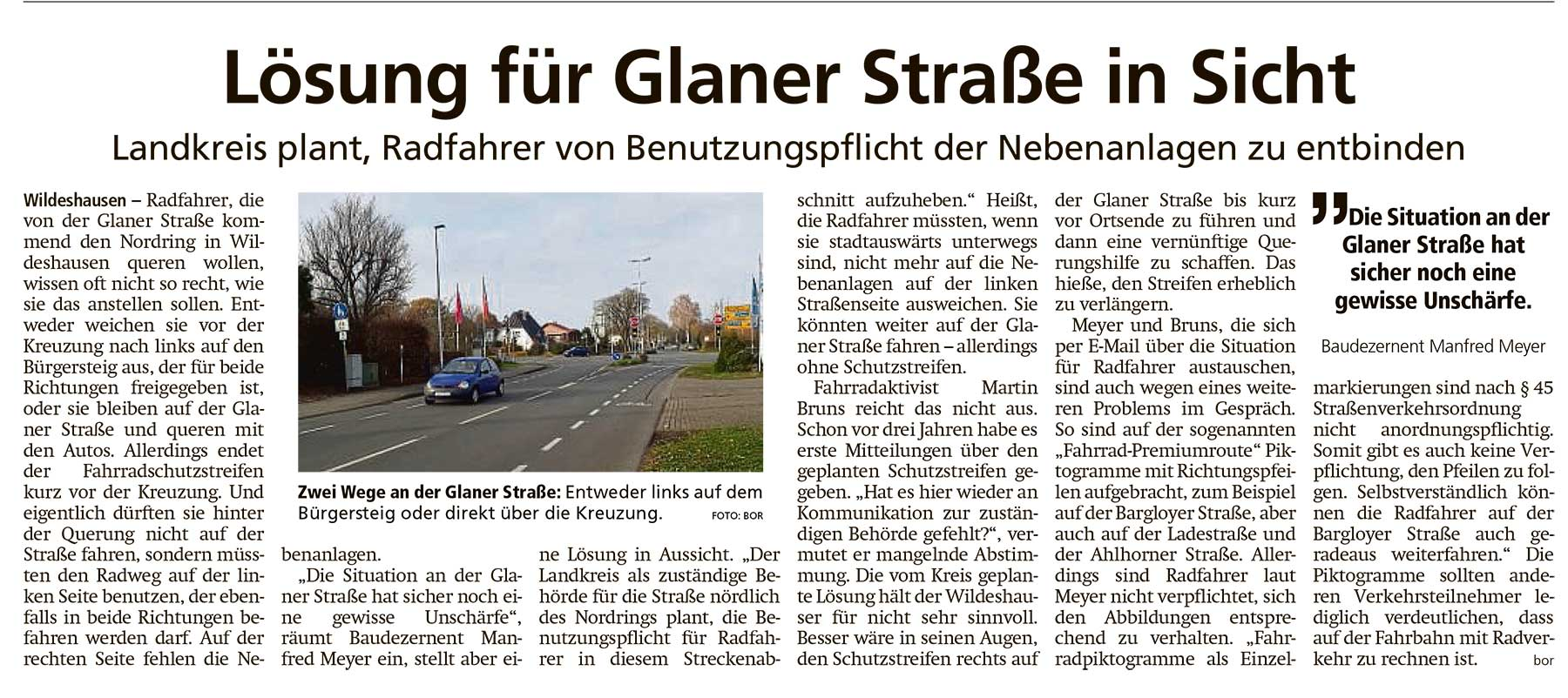 Lösung für Glaner Straße in SichtLandkreis plant, Radfahrer von Benutzungspflicht der Nebenanlagen zu entbindenArtikel vom 26.11.2020 (WZ)