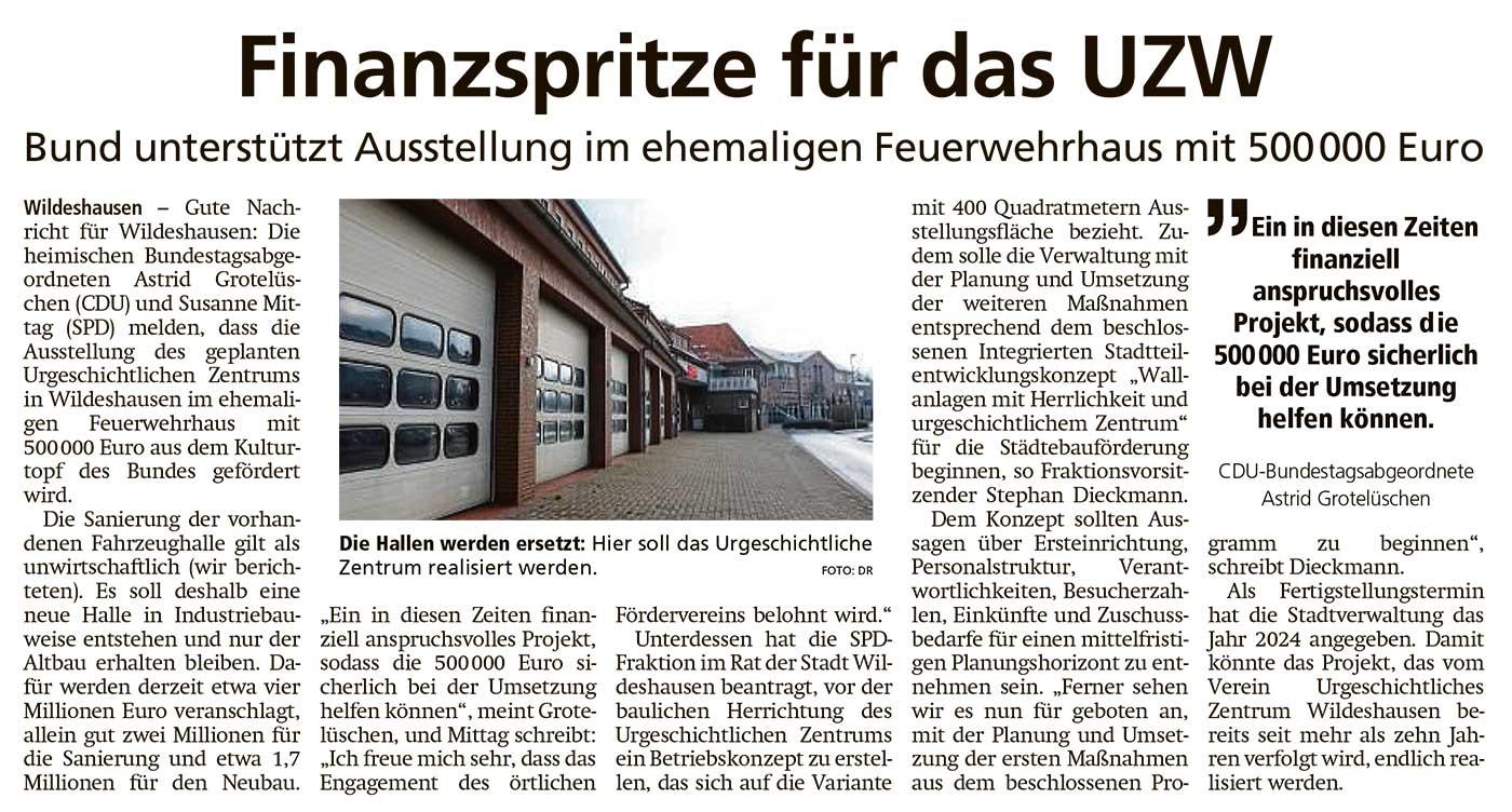 Finanzspritze für das UZWBund unterstützt Ausstellung im ehemaligen Feuerwehrhaus mit 500 000 EuroArtikel vom 27.11.2020 (WZ)