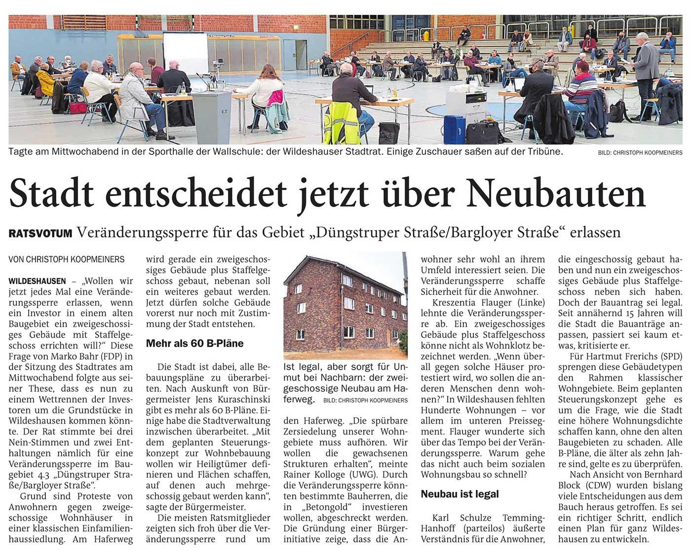 Stadt entscheidet jetzt über NeubautenRatsvotum: Veränderungssperre für das Gebiet 'Düngstruper Straße/Bargloyer Straße' erlassenArtikel vom 27.11.2020 (NWZ)