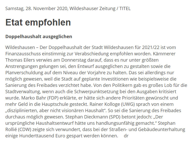 Etat empfohlenDoppelhaushalt ausgeglichenArtikel vom 28.11.2020 (WZ)