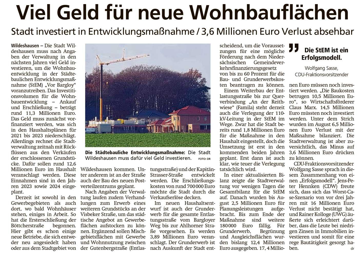 Viel Geld für neue WohnbauflächenStadt investiert in Entwicklungsmaßnahme / 3,6 Millionen Euro Verlust absehbarArtikel vom 30.11.2020 (WZ)