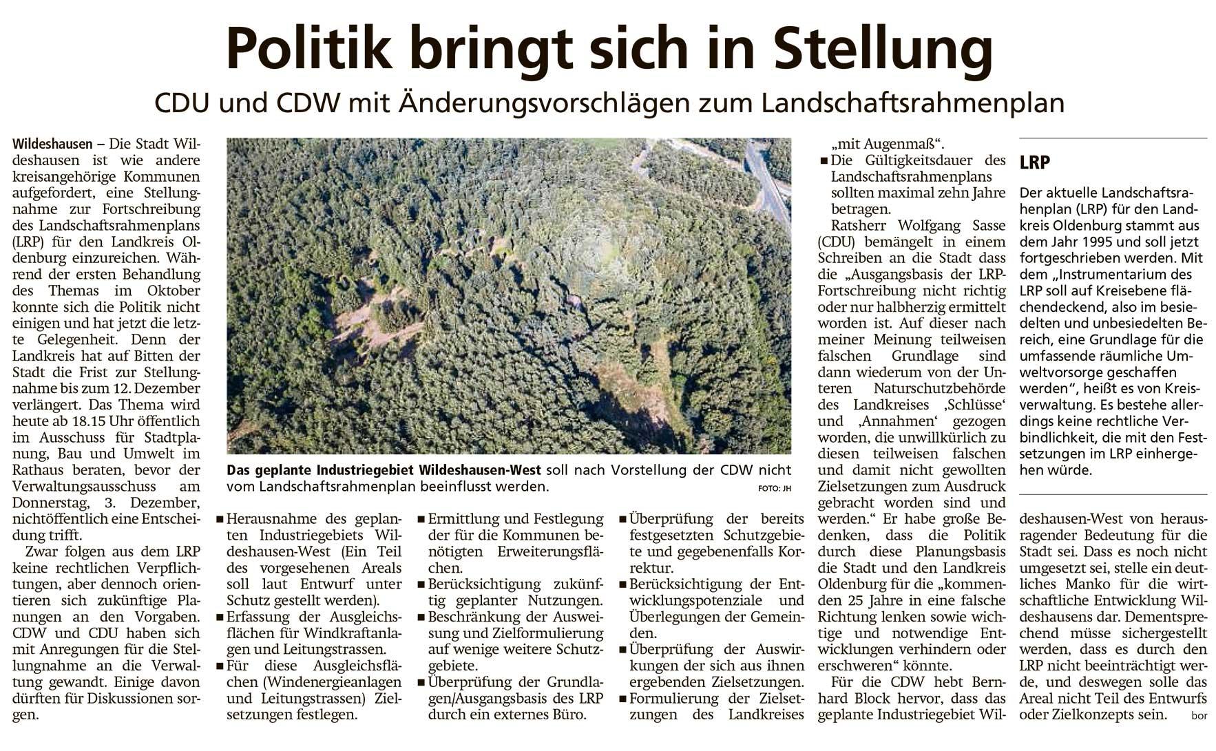 Politik bringt sich in StellungCDU und CDW mit Änderungsvorschlägen zum LandschaftsrahmenplanArtikel vom 01.12.2020 (WZ)