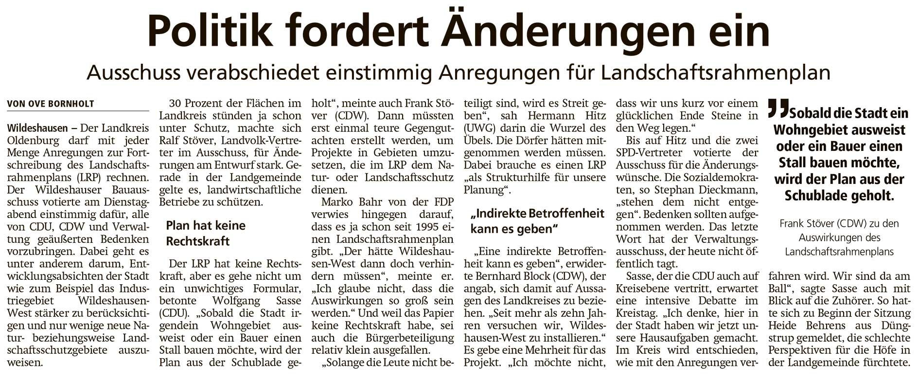 Politik fordert Änderungen einAusschuss verabschiedet einstimmig Anregungen für LandschaftsrahmenplanArtikel vom 03.12.2020 (WZ)