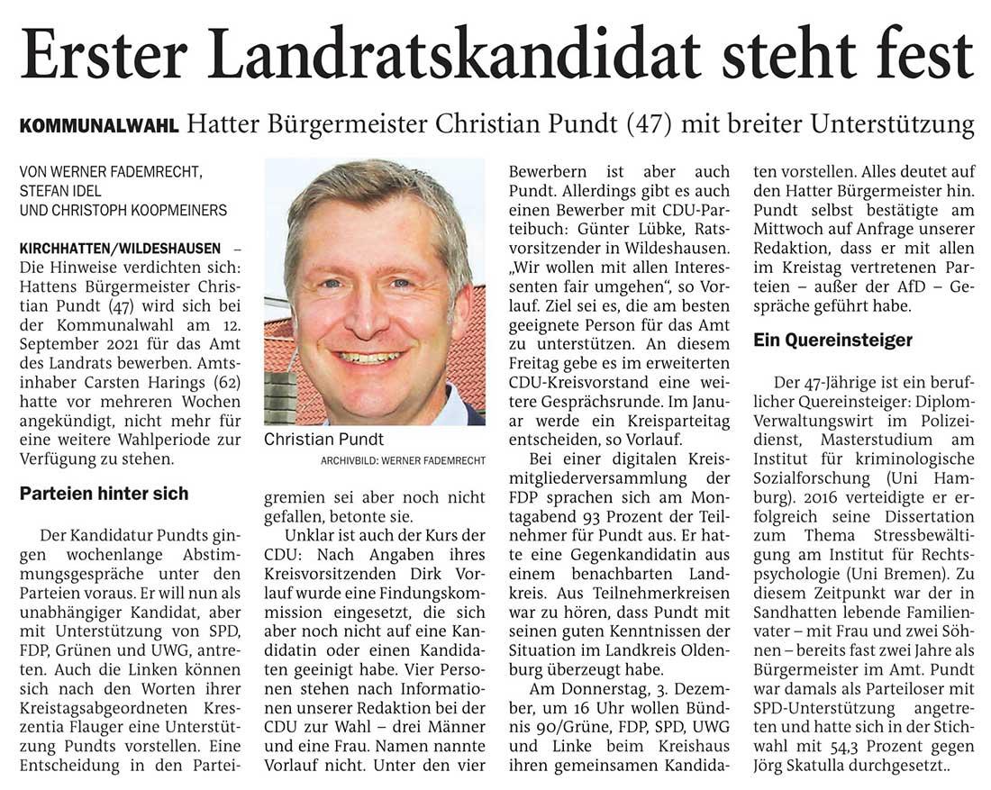 Erster Landratskandidat steht festKommunalwahl: Hatter Bürgermeister Christian Pundt (47) mit breiter UnterstützungArtikel vom 03.12.2020 (NWZ)