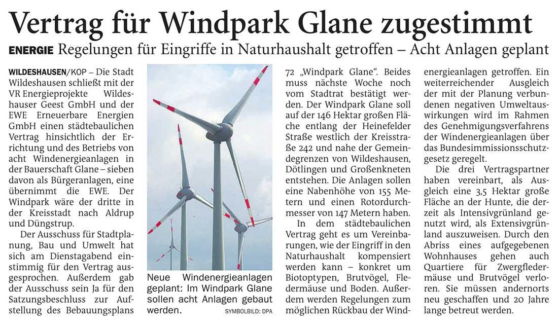 Vertrag für Windpark Glane zugestimmtEnergie: Regelung für Eingriffe in Naturhaushalt getroffen - Acht Anlagen geplantArtikel vom 03.12.2020 (NWZ)