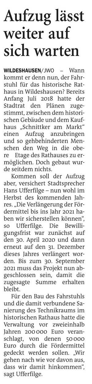 Aufzug lässt weiter auf sich wartenWann kommt er denn nun, der Fahrstuhl für das historische Rathaus in Wildeshausen...Artikel vom 03.12.2020 (NWZ)