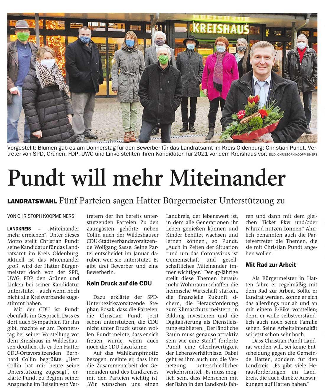 Pundt will mehr MiteinanderLandratswahl: Fünf Parteien sagen Hatter Bürgermeister Unterstützung zuArtikel vom 04.12.2020 (NWZ)