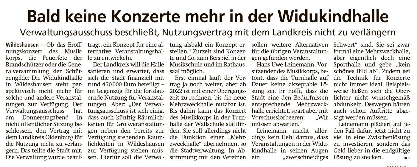 Bald keine Konzerte mehr in der WidukindhalleVerwaltungsausschuss beschließt, Nutzungsvertrag mit dem Landkreis nicht zu verlängernArtikel vom 05.12.2020 (WZ)