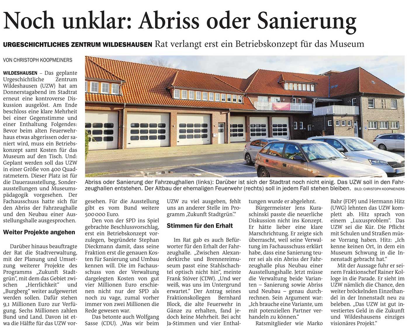 Noch unklar: Abriss oder SanierungUrgeschichtliches Zentrum Wildeshausen: Rat verlangt erst ein Betriebskonzept für das MuseumArtikel vom 12.12.2020 (NWZ)