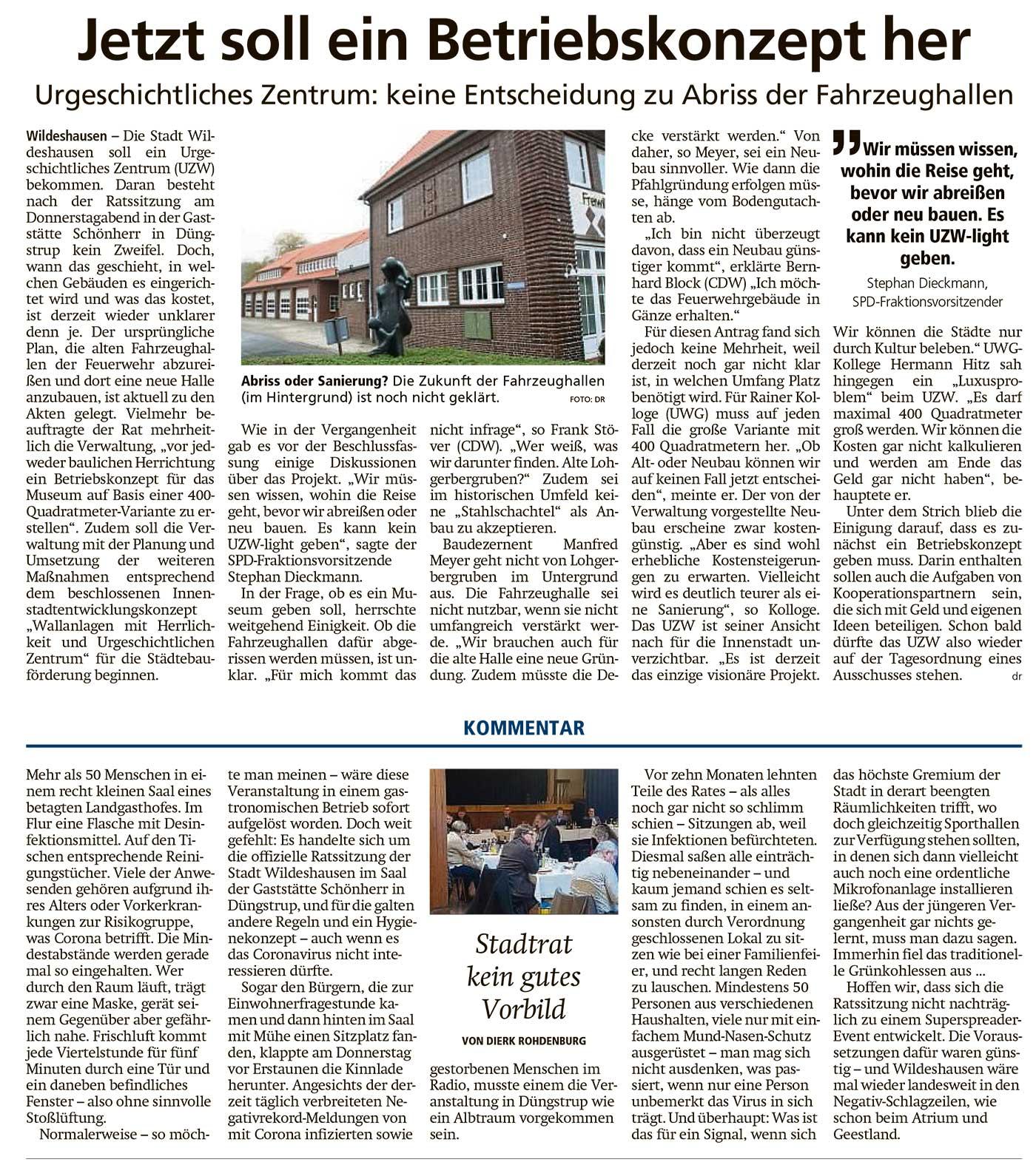 Jetzt soll ein Betriebskonzept herUrgeschichtliches Zentrum: keine Entscheidung zu Abriss der Fahrzeughallen // Kommentar: Stadtrat kein gutes VorbildArtikel vom 12.12.2020 (WZ)