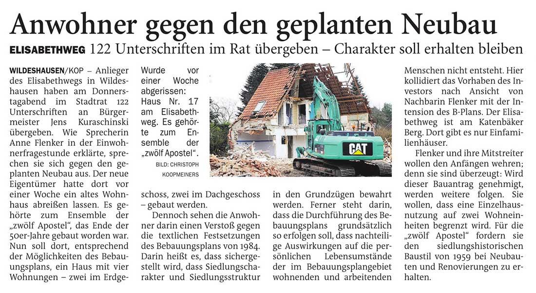 Anwohner gegen den geplanten NeubauElisabethweg: 122 Unterschriften im Rat übergeben - Charakter soll erhalten bleibenArtikel vom 12.12.2020 (NWZ)