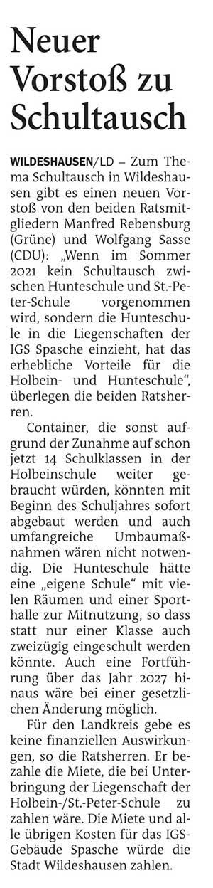 Neuer Vorstoß zu SchultauschZum Thema Schultausch in Wildeshausen gibt es einen neuen Vorstoß von den beiden Ratsmitgliedern Manfred Rebensburg (Grüne) und Wolfgang Sasse (CDU)...Artikel vom 15.12.2020 (NWZ)