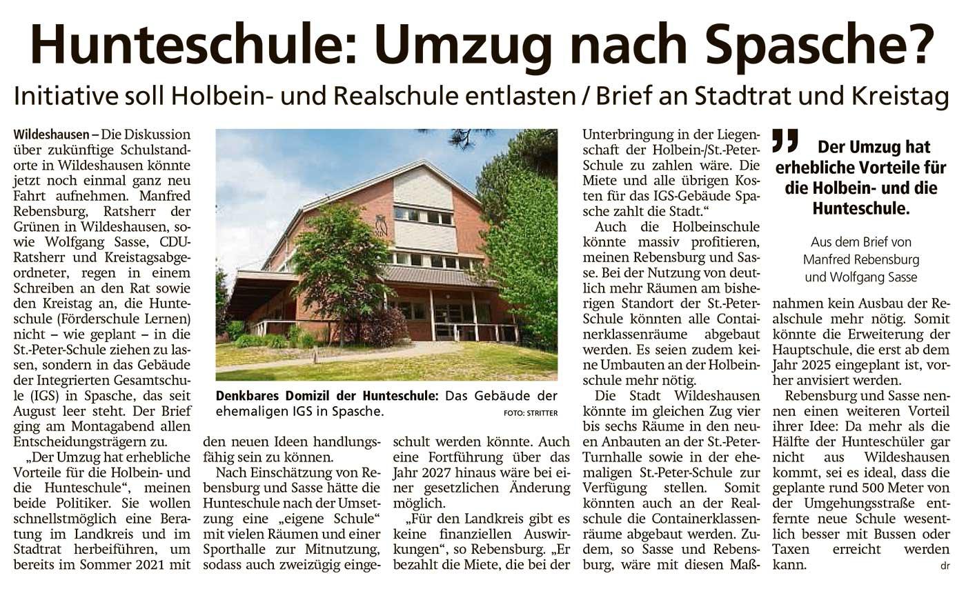 Hunteschule: Umzug nach Spasche?Initiative soll Holbein- und Realschule entlasten / Brief an Stadtrat und KreistagArtikel vom 15.12.2020 (WZ)