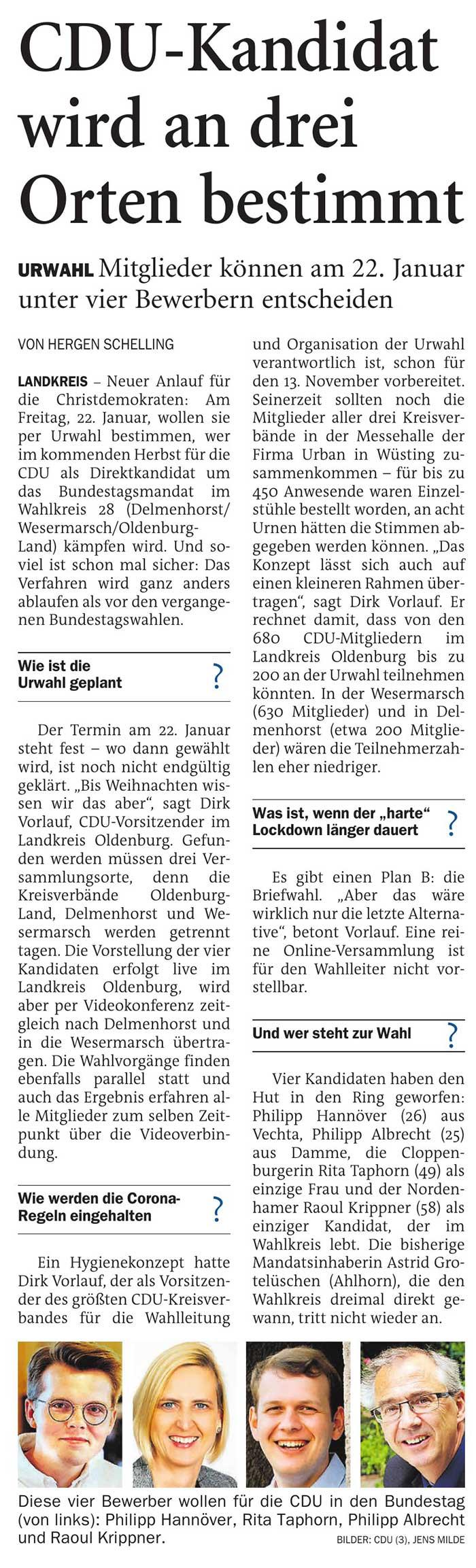 CDU-Kandidat wird an drei Orten bestimmtLandkreis // Urwahl: Mitglieder können am 22. Januar unter vier Bewerbern entscheidenArtikel vom 17.12.2020 (NWZ)