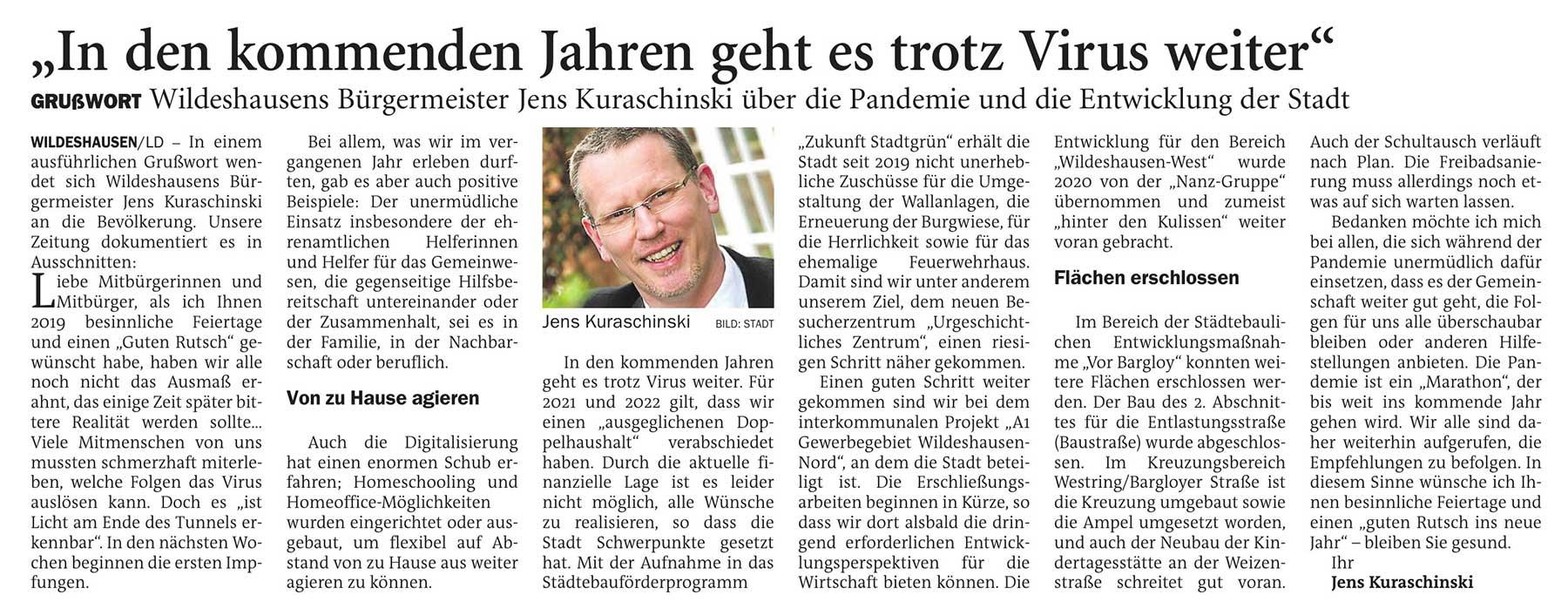 'In den kommenden Jahren geht es trotz Virus weiter'Grußwort: Wildeshausens Bürgermeister Jens Kuraschinski über die Pandemie und die Entwicklung der StadtArtikel vom 23.12.2020 (NWZ)