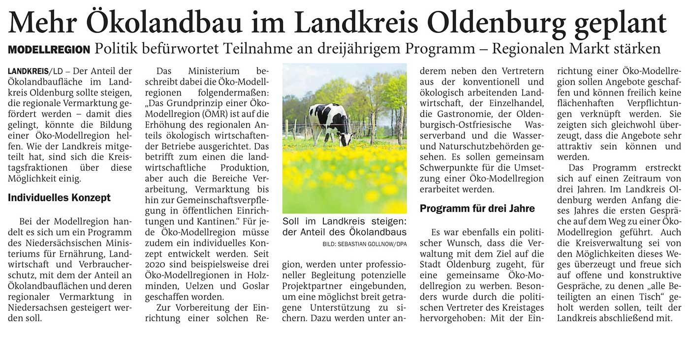 Mehr Ökolandbau im Landkreis Oldenburg geplantModellregion: Politik befürwortet Teilnahme an dreijährigem Programm - Regionalen Markt stärkenArtikel vom 02.01.2021 (NWZ)
