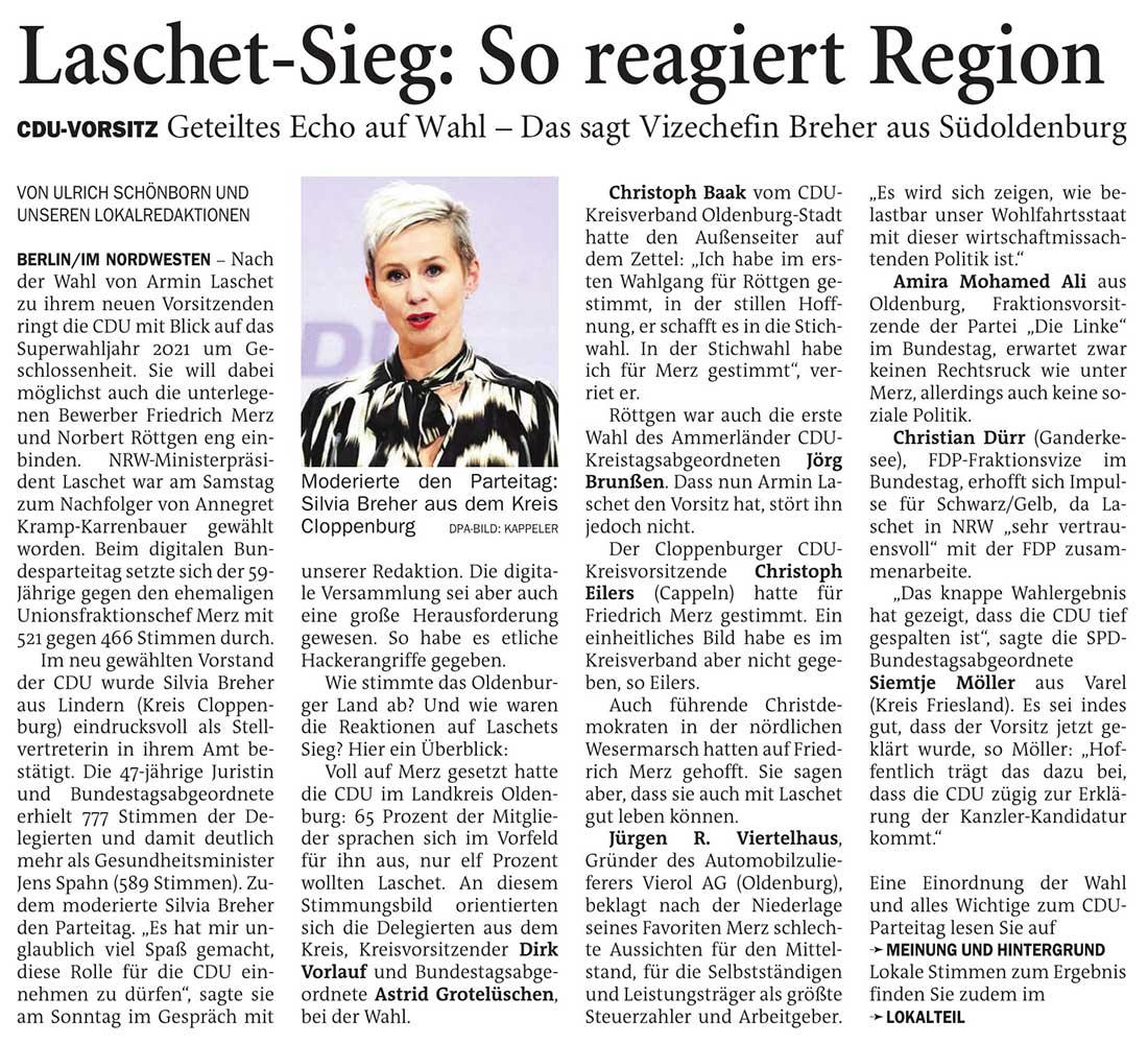 Laschet-Sieg: So reagiert RegionCDU-Vorsitz: Geteiltes Echo auf Wahl - Das sagt Vizechefin Breher aus SüdoldenburgArtikel vom 18.01.2021 (NWZ)