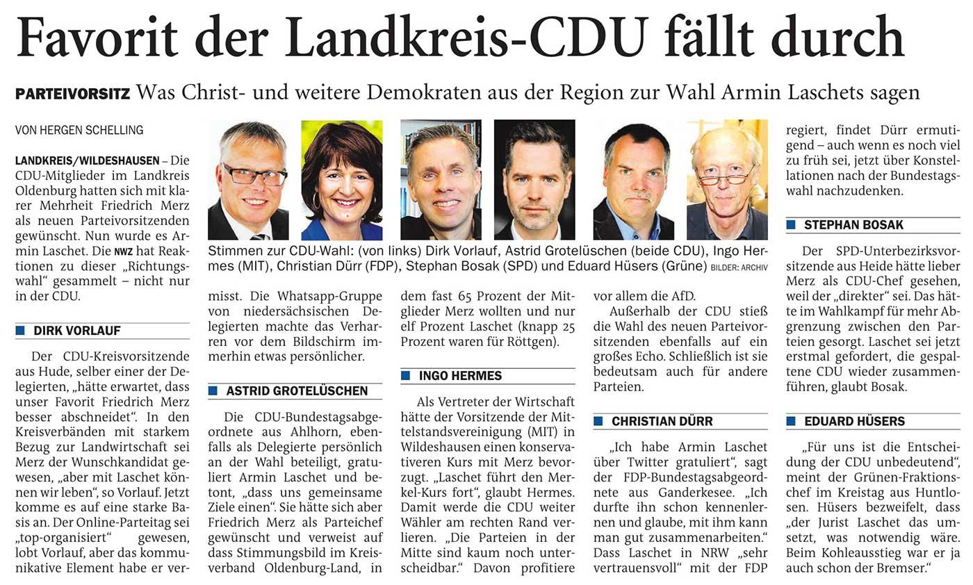 Favorit der Landkreis-CDU fällt durchParteivorsitz: Was Christ- und weitere Demokraten aus der Region zur Wahl Armin Laschets sagenArtikel vom 18.01.2021 (NWZ)