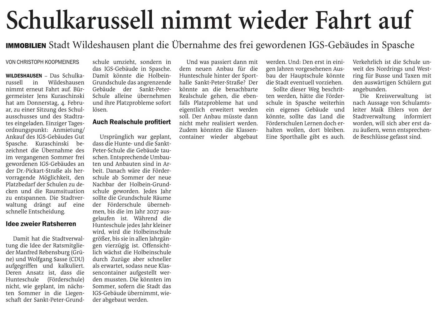 Schulkarussell nimmt wieder Fahrt aufImmobilien: Stadt Wildeshausen plant die Übernahme des frei gewordenen IGS-Gebäudes in SpascheArtikel vom 22.01.2021 (NWZ)