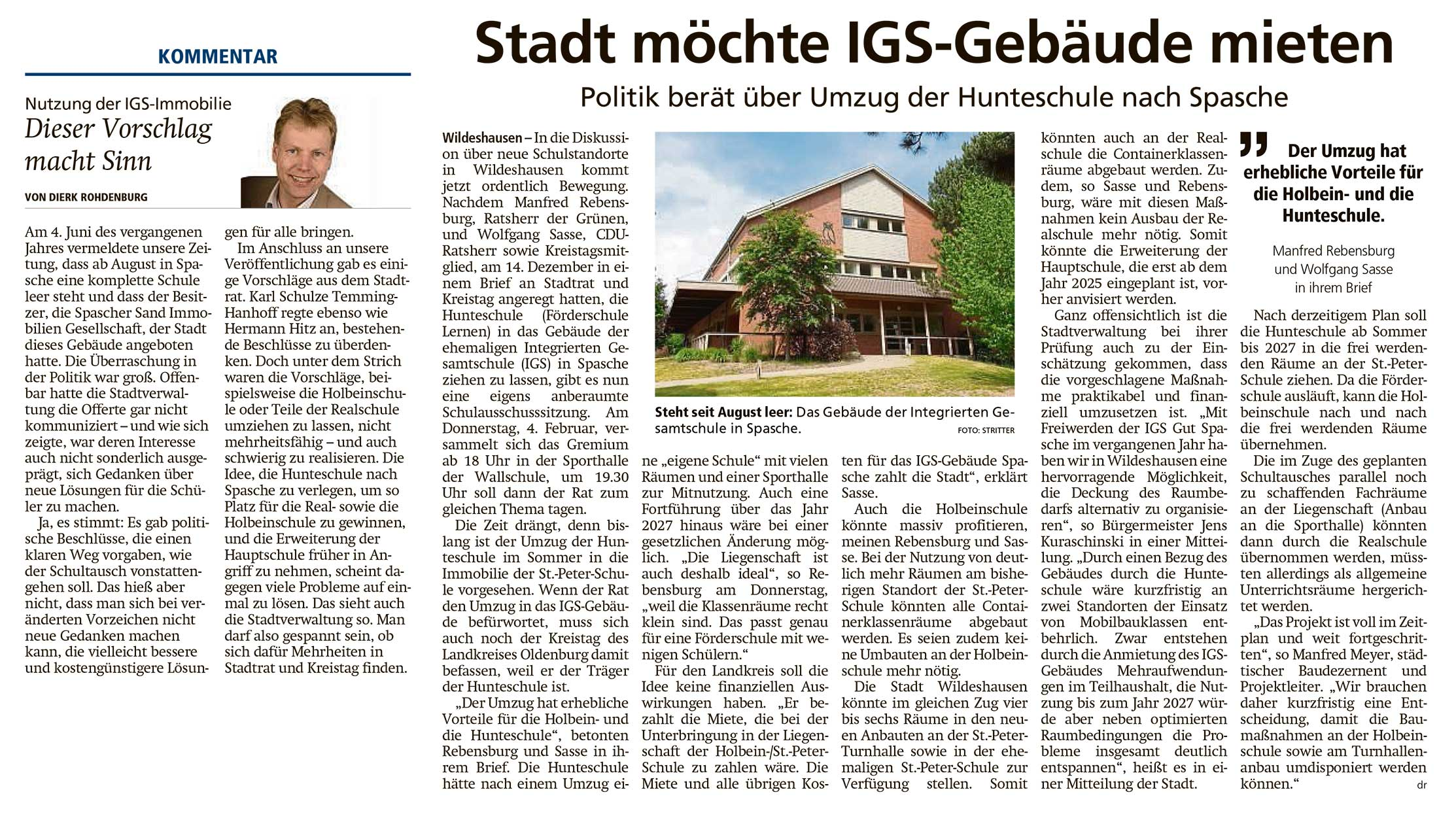 Stadt möchte IGS-Gebäude mietenPolitik berät über Umzug der Hunteschule nach Spasche // Kommentar: Dieser Vorschlag macht SinnArtikel vom 22.01.2021 (WZ)