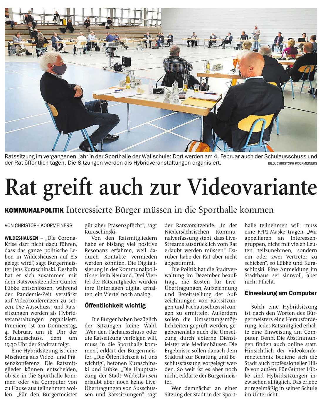 Rat greift auch zur VideovarianteInteressierte Bürger müssen in die Sporthalle kommenArtikel vom 23.01.2021 (NWZ)