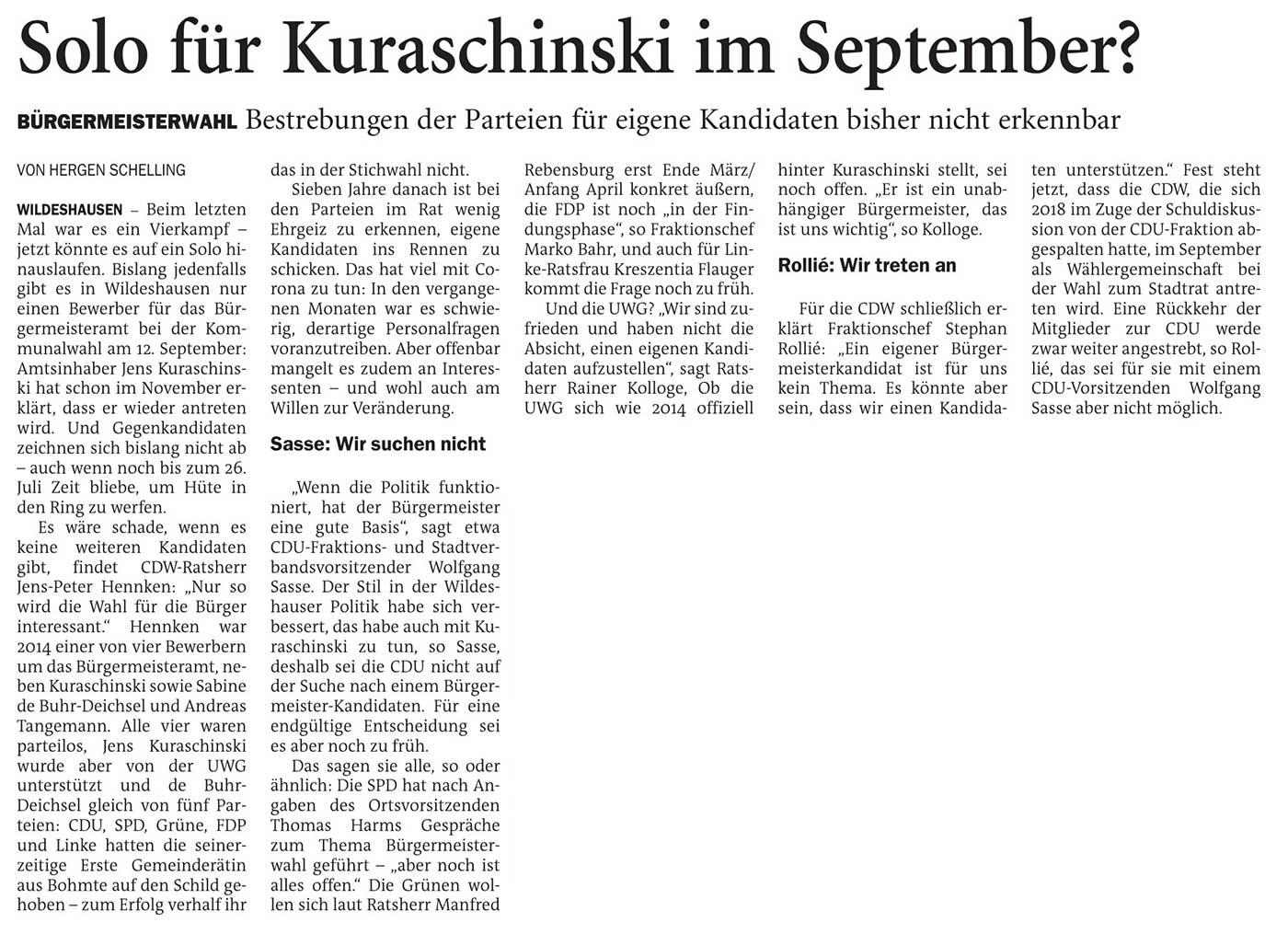 Solo für Kuraschinski im September?Bürgermeisterwahl: Bestrebungen der Parteien für eigene Kandidaten bisher nicht erkennbarArtikel vom 28.01.2021 (NWZ)