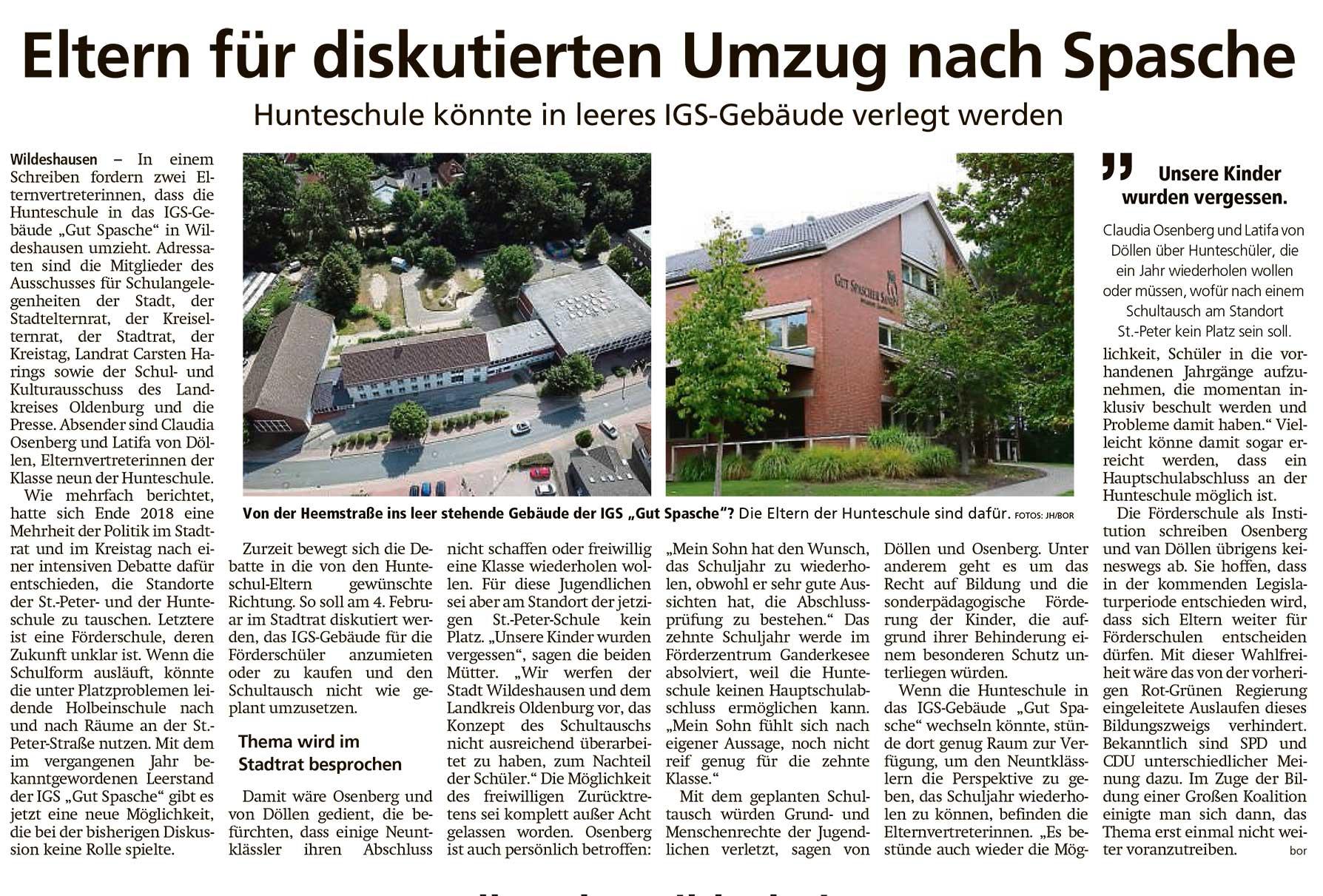 Eltern für diskutierten Umzug nach SpascheHunteschule könnte in leeres IGS-Gebäude verlegt werdenArtikel vom 28.01.2021 (WZ)