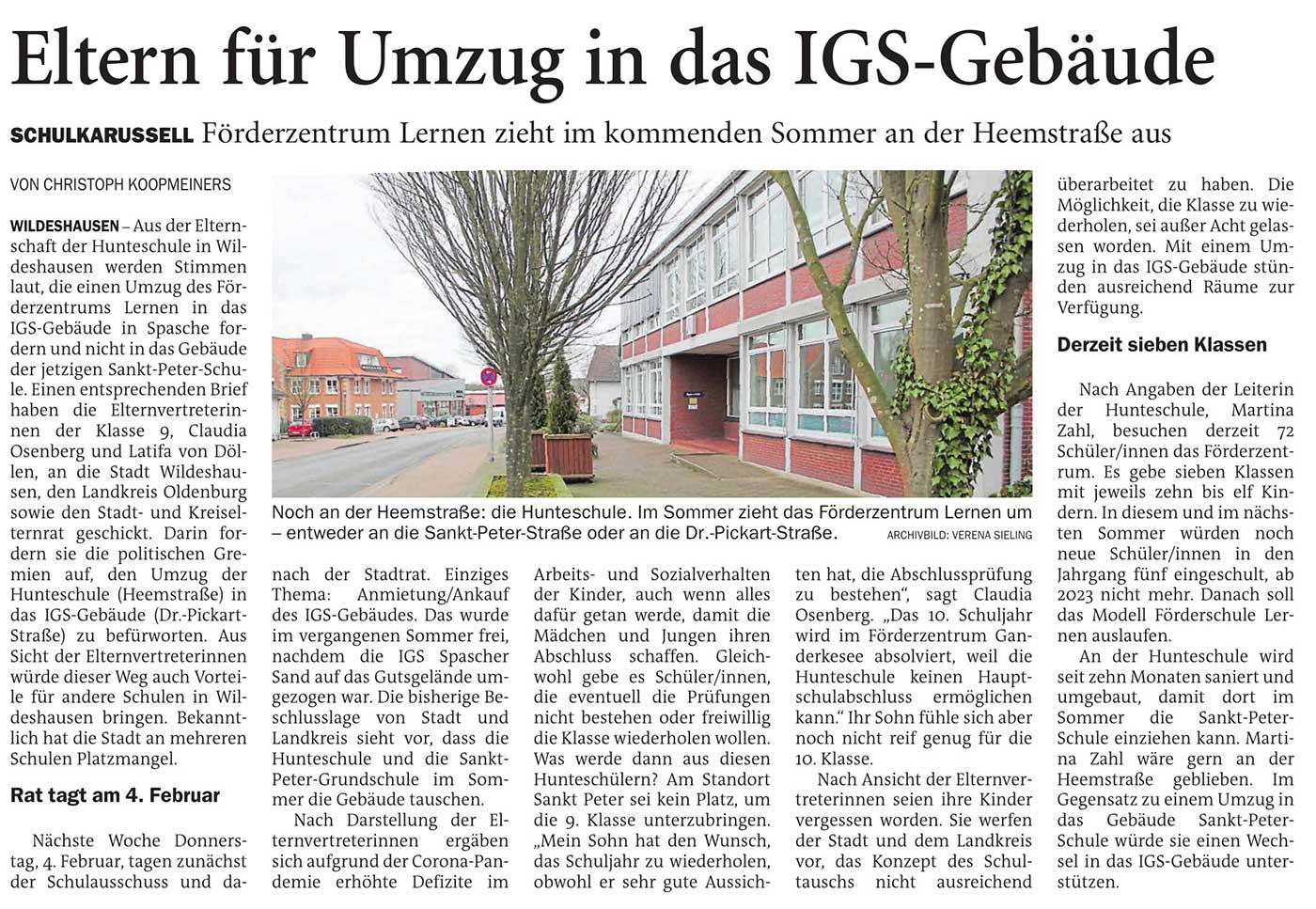 Eltern für Umzug in das IGS-GebäudeSchulkarussell: Förderzentrum Lernen zieht im kommenden Sommer an der Heemstraße ausArtikel vom 29.01.2021 (NWZ)
