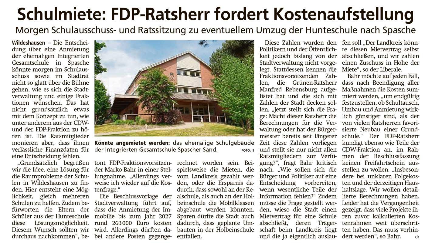 Schulmiete: FDP-Ratsherr fordert KostenaufstellungMorgen Schulausschuss- und Ratssitzung zu eventuellem Umzug der Hunteschule nach SpascheArtikel vom 03.02.2021 (WZ)