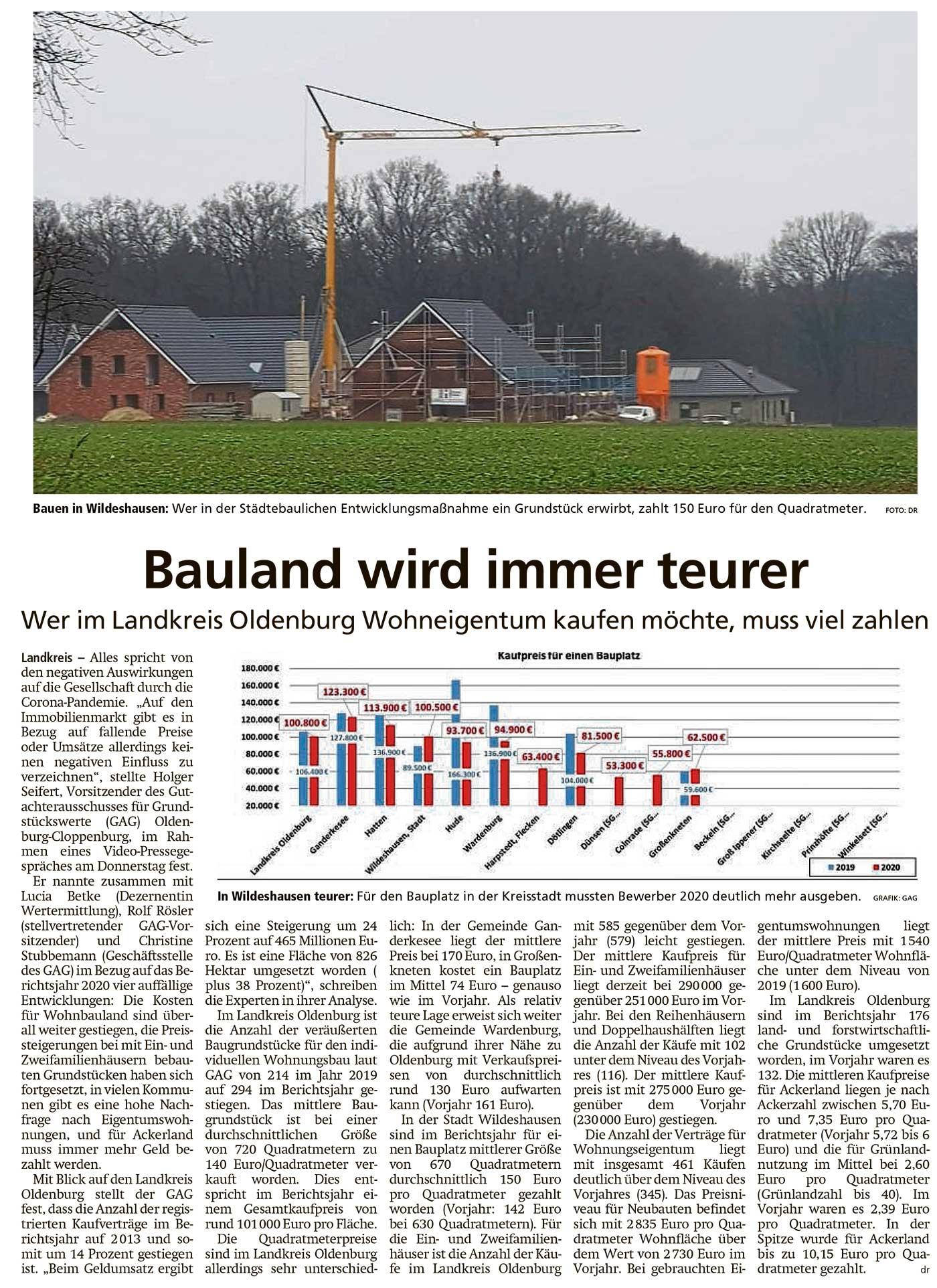 Bauland wird immer teurerWer im Landkreis Oldenburg Wohneigentum kaufen möchte, muss viel zahlenArtikel vom 05.02.2021 (WZ)