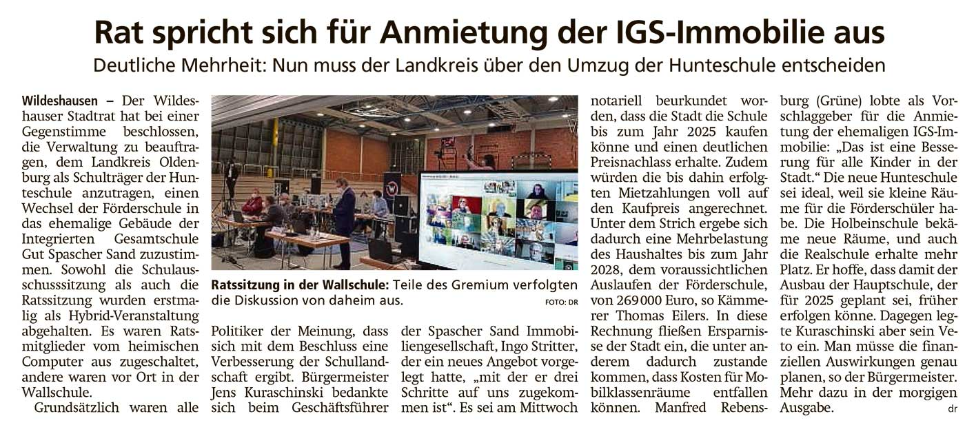Rat spricht sich für Anmietung der IGS-Immobilie ausDeutliche Mehrheit: Nun muss der Landkreis über den Umzug der Hunteschule entscheidenArtikel vom 05.02.2021 (WZ)