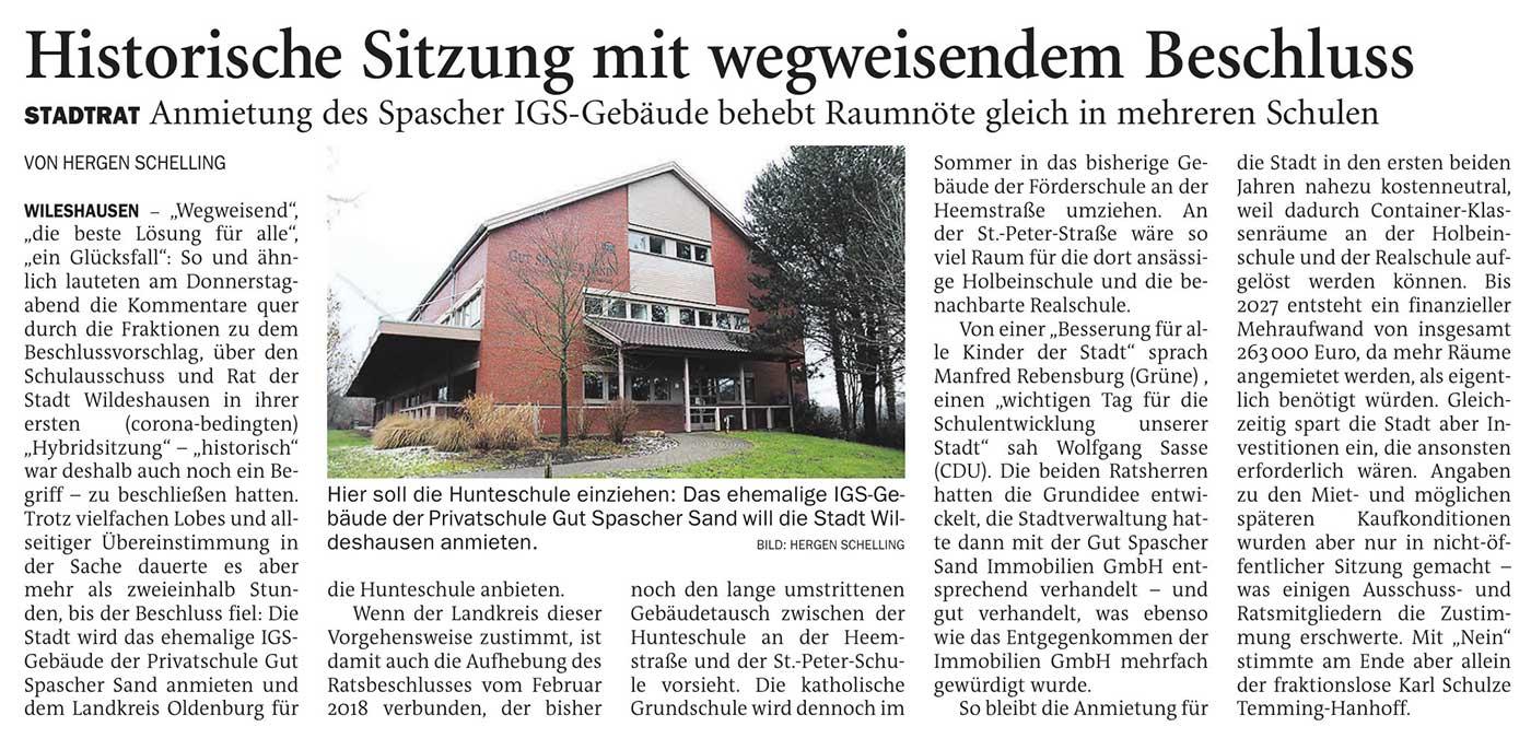 Historische Sitzung mit wegweisendem BeschlussStadtrat: Anmietung des Spascher IGS-Gebäude behebt Raumnöte gleich in mehreren Schulen Artikel vom 05.02.2021 (NWZ)