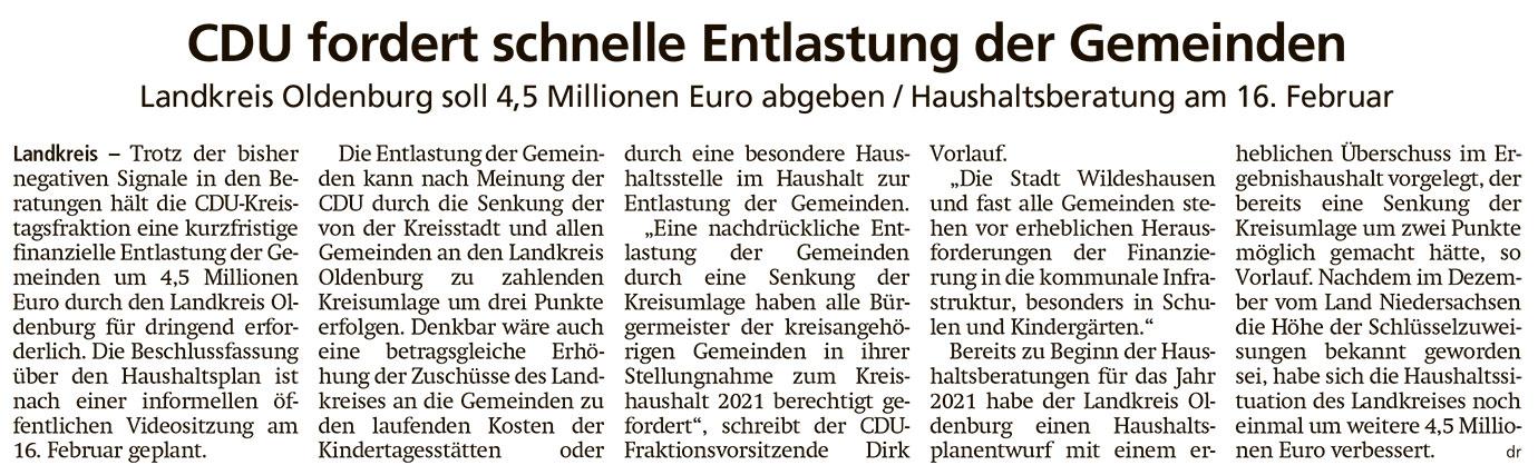 CDU fordert schnelle Entlastung der GemeindenLandkreis Oldenburg soll 4,5 Millionen Euro abgeben / Haushaltsberatung am 16. FebruarArtikel vom 06.02.2021 (WZ)