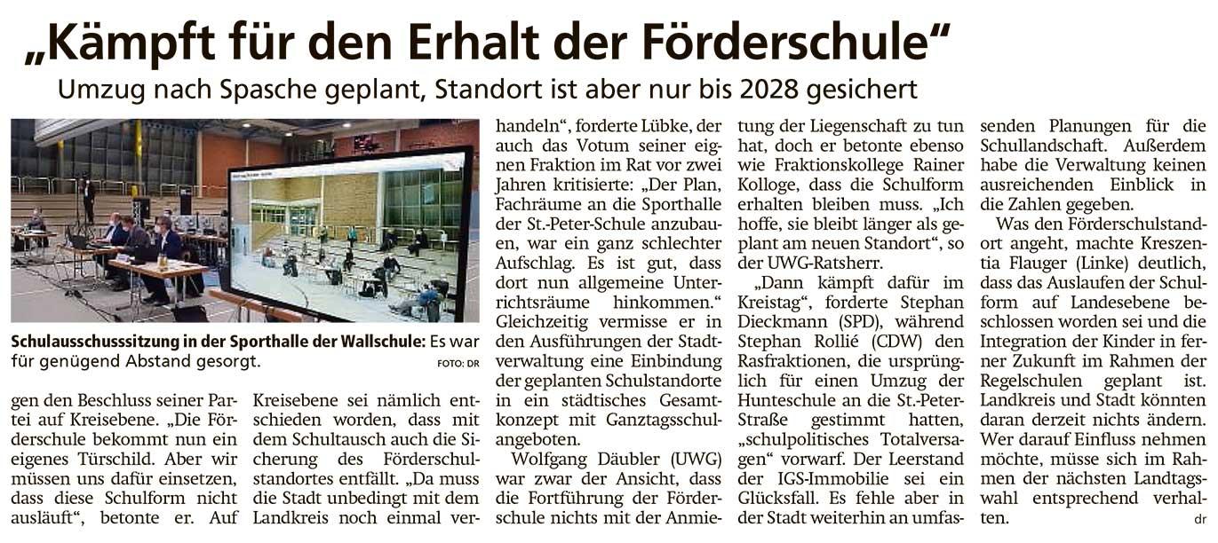 'Kämpft für den Erhalt der Förderschule'Umzug nach Spasche geplant, Standort ist aber nur bis 2028 gesichertArtikel vom 06.02.2021 (WZ)