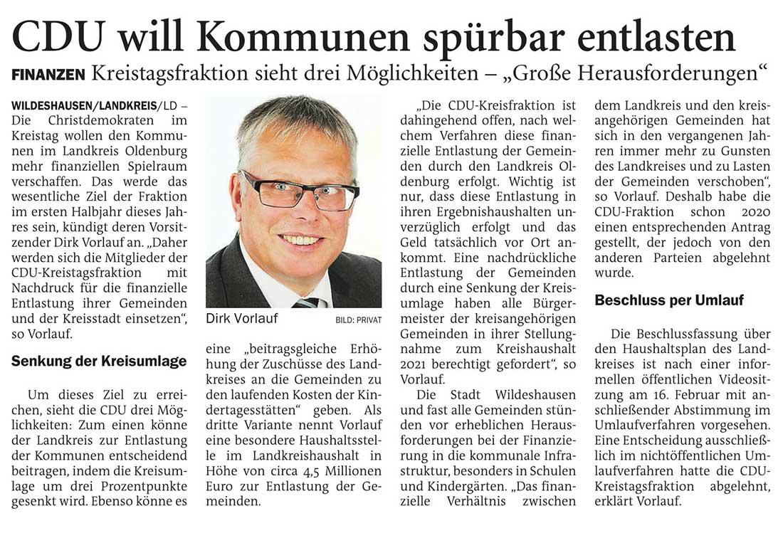 CDU will Kommunen spürbar entlastenWildeshausen/Landkreis // Finanzen: Kreistagsfraktion sieht drei Möglichkeiten - 'Große Herausforderungen'Artikel vom 06.02.2021 (NWZ)