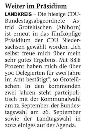 Weiter im PräsidiumLandkreis // Die hiesige CDU-Bundestagsabgeordnete Astrid Grotelüschen...Artikel vom 09.02.2021 (NWZ)