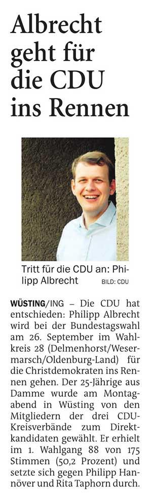 Albrecht geht für die CDU ins RennenWüsting // Die CDU hat entschieden: Philipp Albrecht wird bei der Bundestagswahl...Artikel vom 16.02.2021 (NWZ)