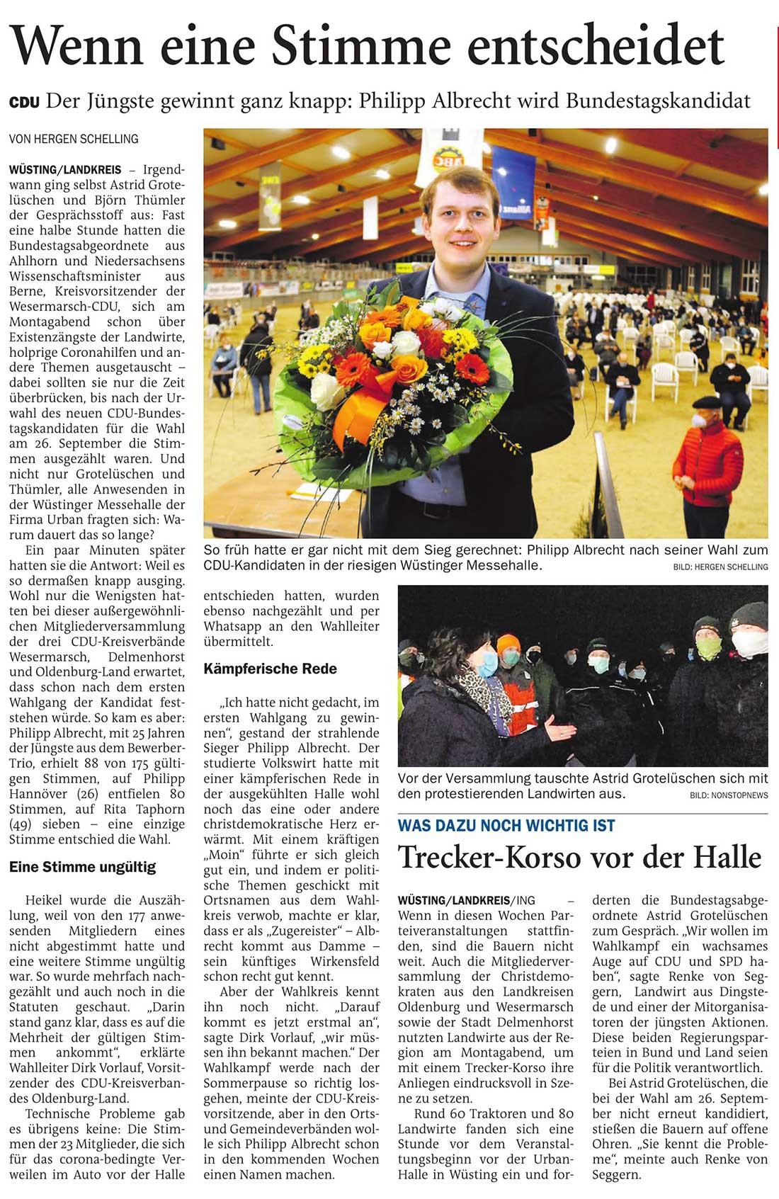Wenn eine Stimme entscheidetDer Jüngste gewinnt ganz knapp: Philipp Albrecht wird BundestagskandidatArtikel vom 17.02.2021 (NWZ)
