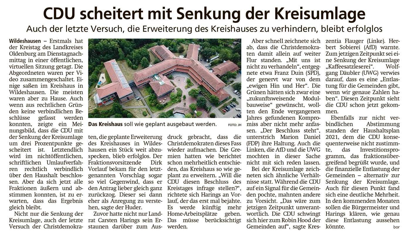 CDU scheitert mit Senkung der KreisumlageAuch der letzte Versuch, die Erweiterung des Kreishauses zu verhindern, bleibt erfolglosArtikel vom 17.02.2021 (WZ)